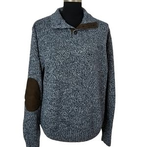 Chaps mens large blue knit equestrian sweater